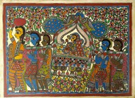 Wedding Doli by Chano Devi, Folk Painting, Acrylic on Paper, Brown color