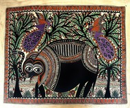 Black Elephant by Chano Devi, Folk Painting, Water Based Medium on Paper, Brown color
