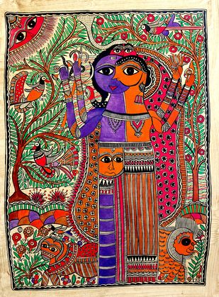 Ardhanarishvara by Chano Devi, Folk Painting, Water Based Medium on Paper, Brown color