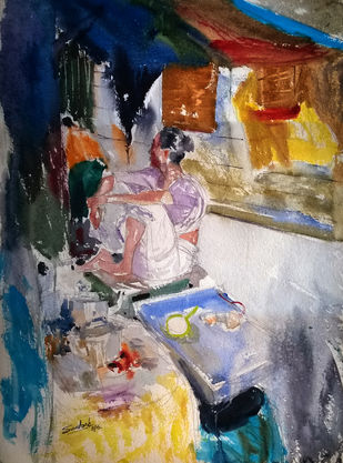 corner by Santosh Keshari , Expressionism Painting, Watercolor on Paper, Brown color