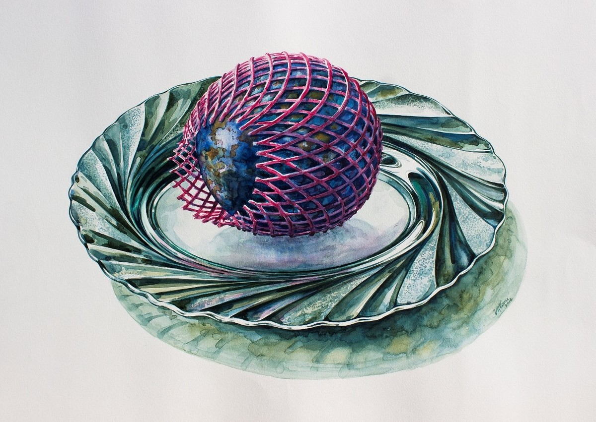 Platter by VG Venugopal, Realism Painting, Watercolor on Paper, Gray color