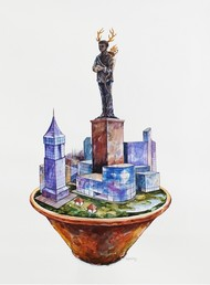 Monument by VG Venugopal, Fantasy Painting, Watercolor on Paper, Gray color
