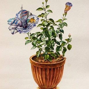 Bloom by VG Venugopal, Realism Painting, Watercolor on Paper, Beige color
