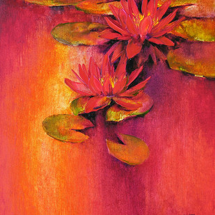 Waterlilies - 11 by Swati Kale, Expressionism Painting, Oil on Canvas, Red color
