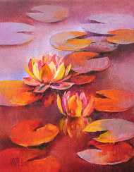 Waterlilies - 12 by Swati Kale, Expressionism Painting, Oil on Canvas, Pink color