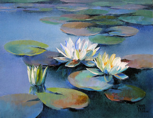 Waterlilies - 14 by Swati Kale, Expressionism Painting, Oil on Canvas, Blue color