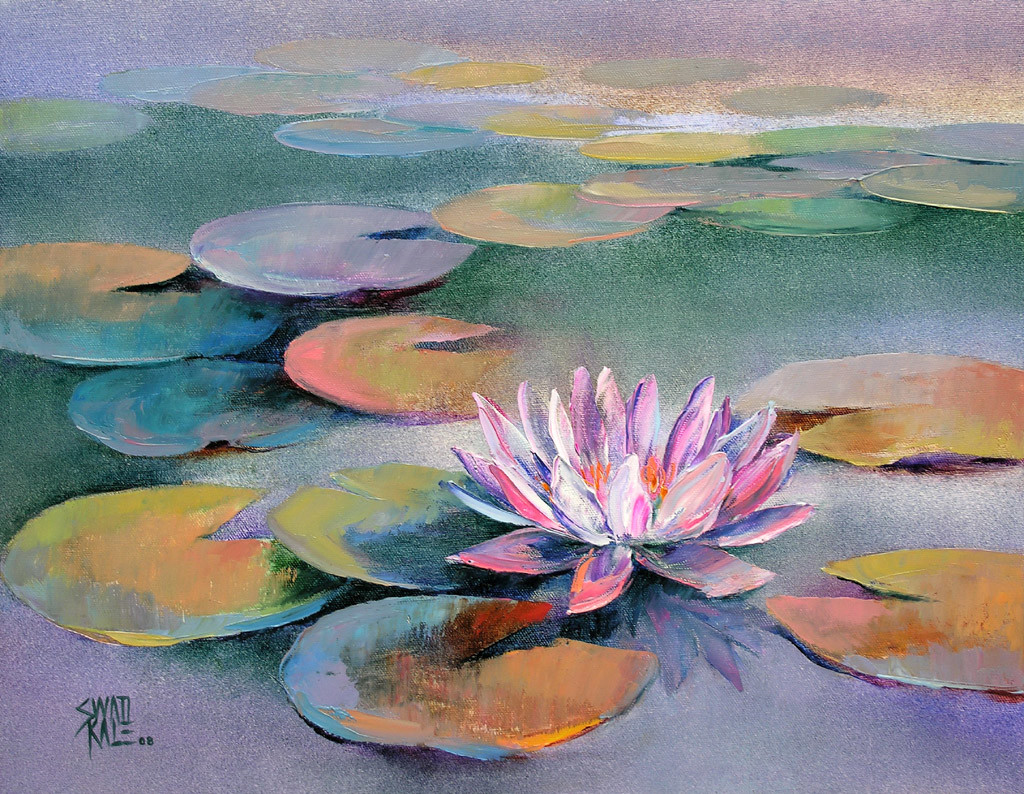 Waterlilies - 15 by Swati Kale, Expressionism Painting, Oil on Canvas, Brown color