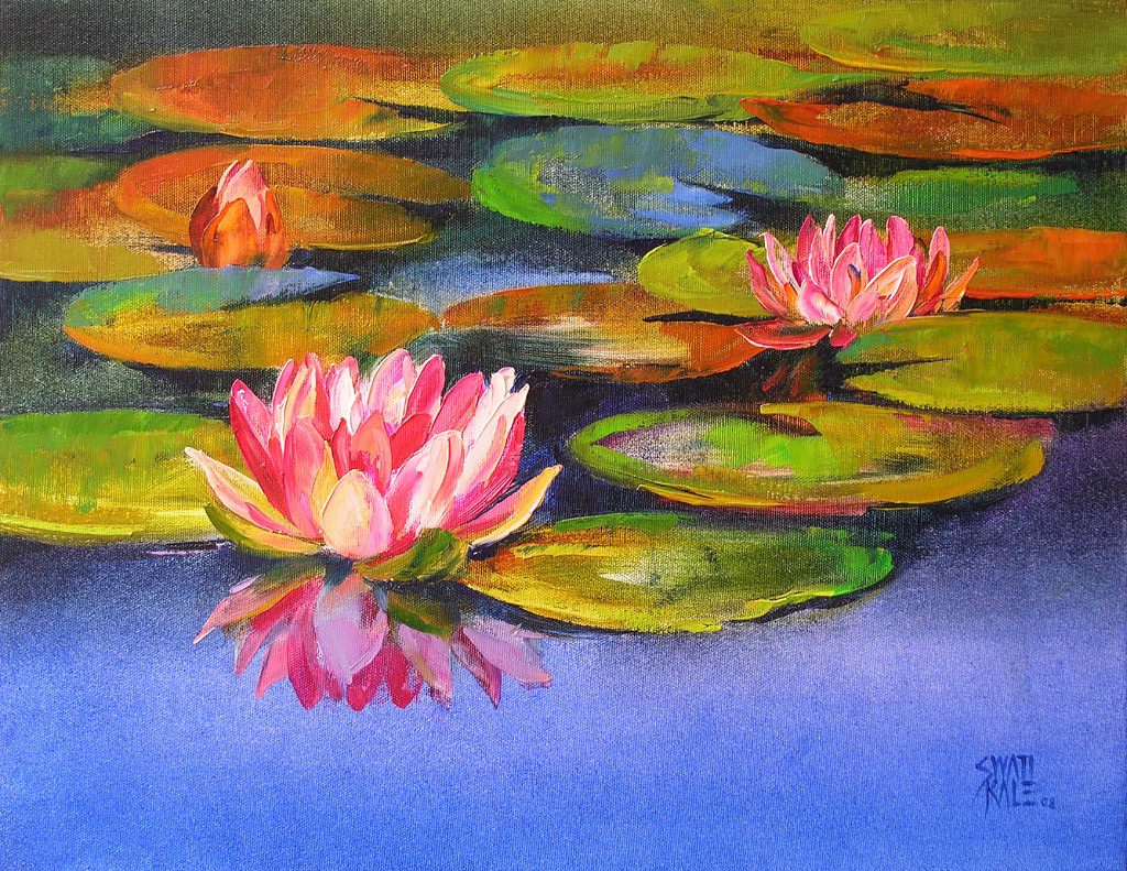 Waterlilies - 17 by Swati Kale, Expressionism Painting, Oil on Canvas, Brown color