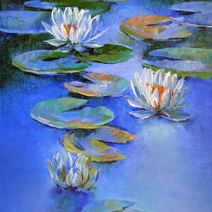 Waterlilies - 19 by Swati Kale, Expressionism Painting, Oil on Canvas, Blue color