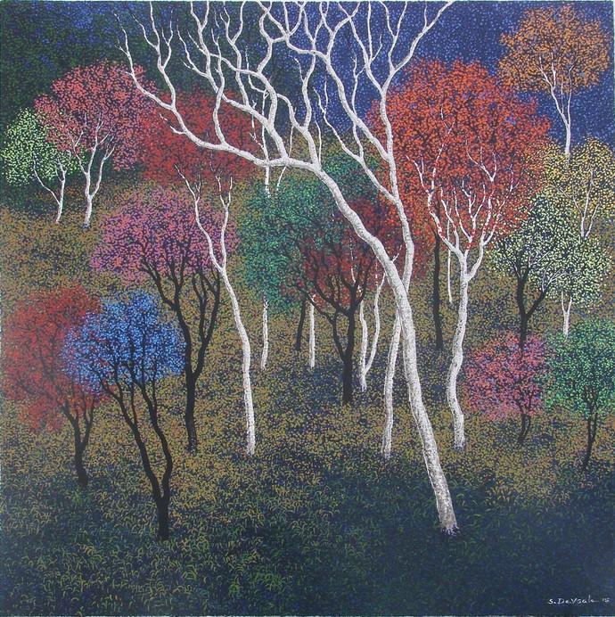 landscape by Sanjay Devsale, Decorative Painting, Acrylic on Canvas, Brown color