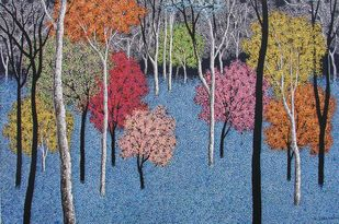 landscape by Sanjay Devsale, Decorative Painting, Acrylic on Canvas, Blue color
