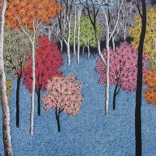 landscape by Sanjay Devsale, Decorative Painting, Acrylic on Canvas, Blue color