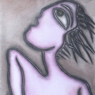 Untitled by Prokash Karmakar, Expressionism Painting, Pastel on Paper, Pink color