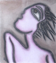 """Women, Large Fish shaped Eyes, Pastel Painting, Influenced by Picasso """"In Stock"""" by Prokash Karmakar, Expressionism Painting, Pastel on Paper, Pink color"""
