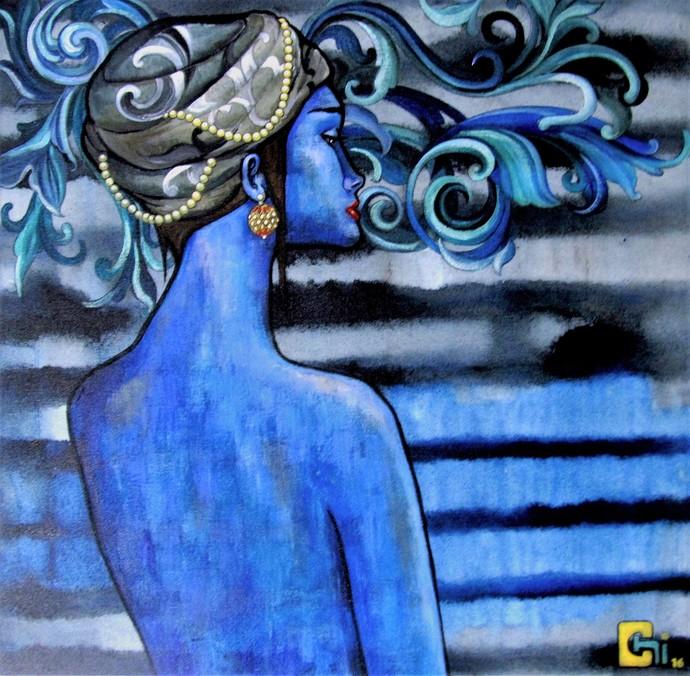 lyrics of the mind by Suruchi Jamkar, Expressionism Painting, Acrylic on Canvas, Blue color