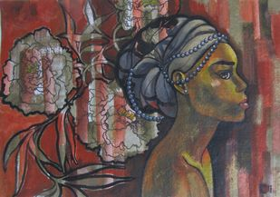 Ponderings I by Suruchi Jamkar, Expressionism Painting, Acrylic & Ink on Paper, Brown color