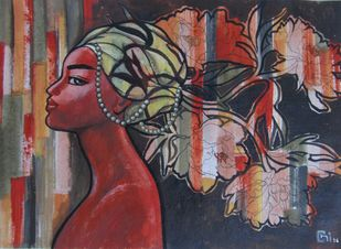 Ponderings II by Suruchi Jamkar, Expressionism Painting, Acrylic & Ink on Paper, Brown color