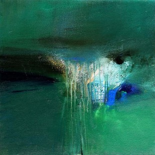 Dreams and Memories by Neena Singh, Abstract Painting, Acrylic on Board, Green color