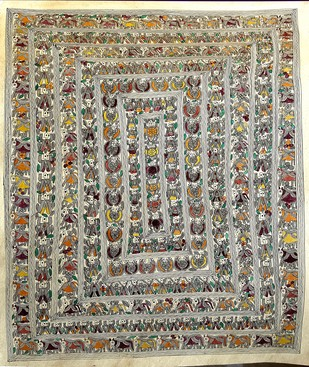 Flower Bed by Kailash Devi, Folk Painting, Water Based Medium on Paper, Beige color