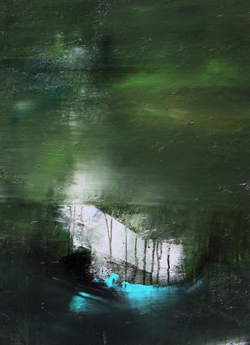 Stillness Speaks by Neena Singh, Abstract Painting, Acrylic on Canvas, Green color