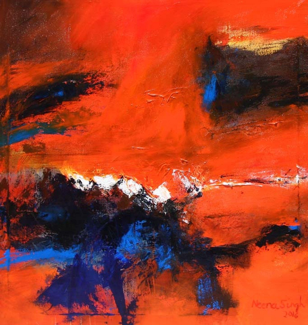 ENERGY by Neena Singh, Abstract Painting, Acrylic on Canvas, Brown color