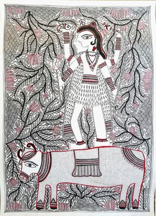 Shiva On His Mount Nandi by Asha Devi, Folk Painting, Acrylic on Paper, Gray color
