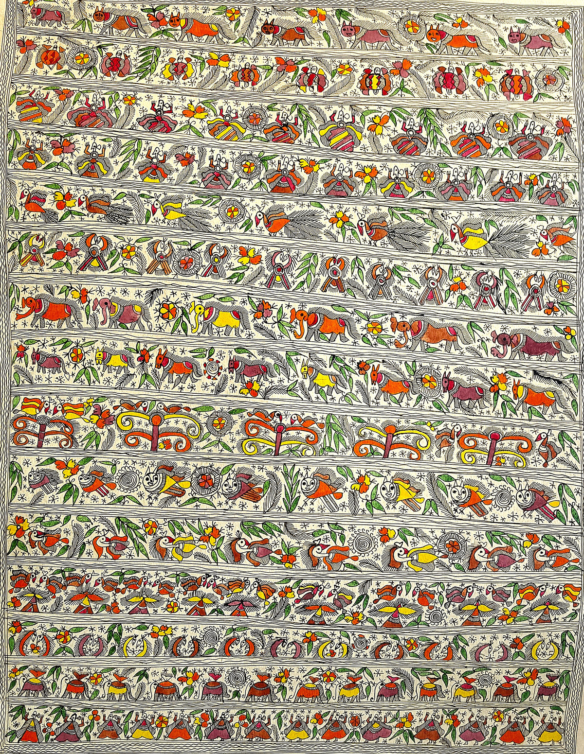 Life In A Jungle by Urmila Devi, Folk Painting, Water Based Medium on Paper, Beige color