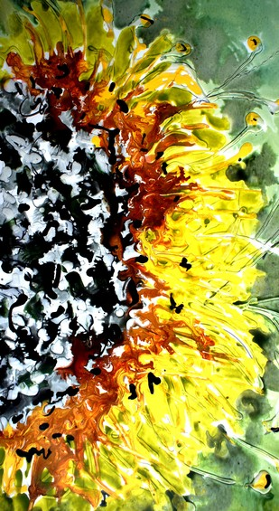 sunflower by Baljit Singh Chadha, Expressionism Painting, Mixed Media on Paper, Green color