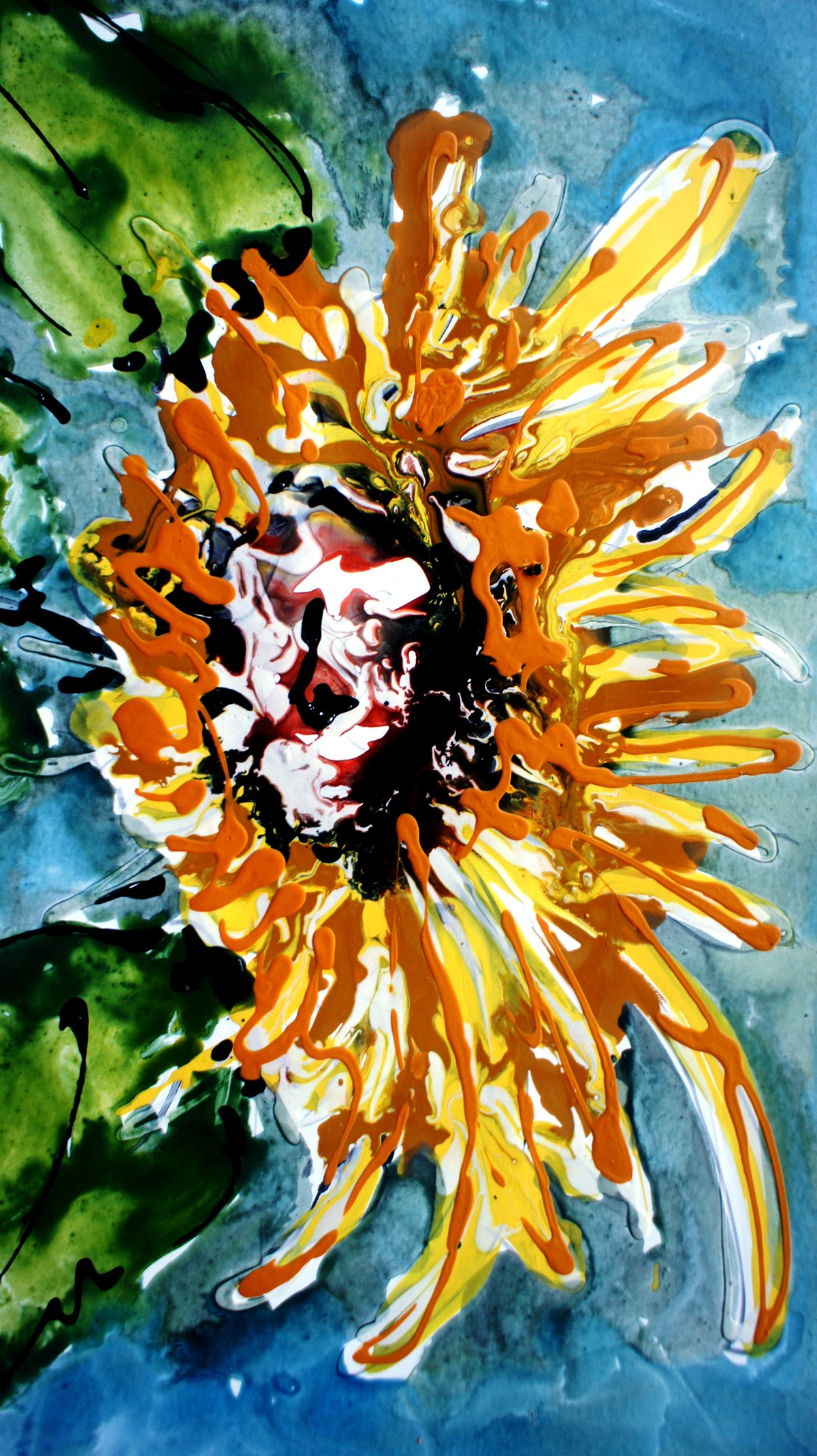 SUNFLOWERS by Baljit Singh Chadha, Expressionism Painting, Mixed Media on Paper, Green color