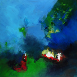 Green Fall by Sadhana Raddi, Abstract Painting, Acrylic on Canvas, Blue color