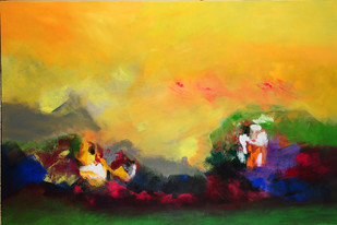 Yellow Day by Sadhana Raddi, Abstract Painting, Acrylic on Canvas, Orange color