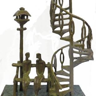 Couple by Tushar Kanti Das Roy, Decorative Sculpture | 3D, Bronze, Gray color