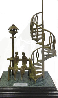 Couple by Tushar Kanti Das Roy, Decorative Sculpture   3D, Bronze, Gray color