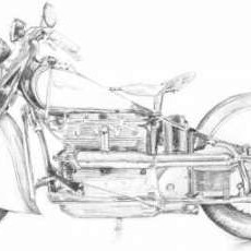 Motorcycle Sketch II Digital Print by Meagher, Megan,Illustration