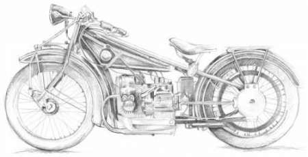 motorcycle sketch images  Motorcycle Sketch I by artist Meagher, Megan – Illustration Print ...