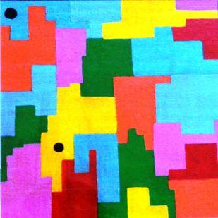 Rhythm of Life 2 by Shivani Garg , Abstract Painting, Mixed Media, Cyan color