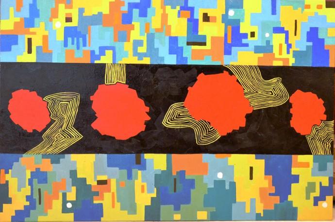 Rhythm of Life 4 by Shivani Garg , Abstract Painting, Mixed Media, Brown color