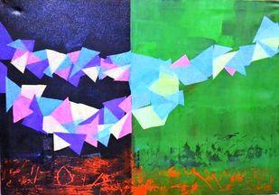 Rhythm of Life 5 by Shivani Garg , Abstract Painting, Mixed Media, Green color