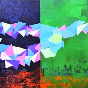 Rhythm of Life 5 by Shivani Garg , Abstract Painting, Mixed Media, Green color