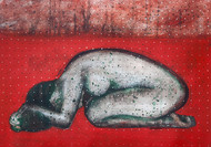Surrender by Arun K Mishra, Expressionism Painting, Acrylic on Paper, Red color
