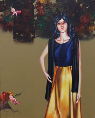 Has a girl become a doll? 3 by Vijay Dhongadi, Realism Painting, Acrylic on Canvas, Brown color