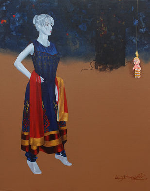 Has a girl become a doll? 2 by Vijay Dhongadi, Realism Painting, Acrylic on Canvas, Brown color
