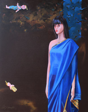 Has a girl become a doll? 5 by Vijay Dhongadi, Realism Painting, Acrylic on Canvas, Blue color