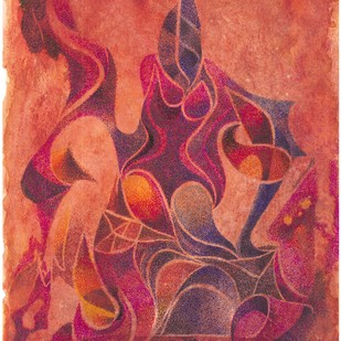 KUNTHI by SATHIYASEELAN GANGASALAM, Abstract Painting, Mixed Media on Paper, Pink color