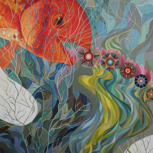 The song of the Fish by V. MOODY CHETANANAND, Fantasy Painting, Oil on Canvas, Green color
