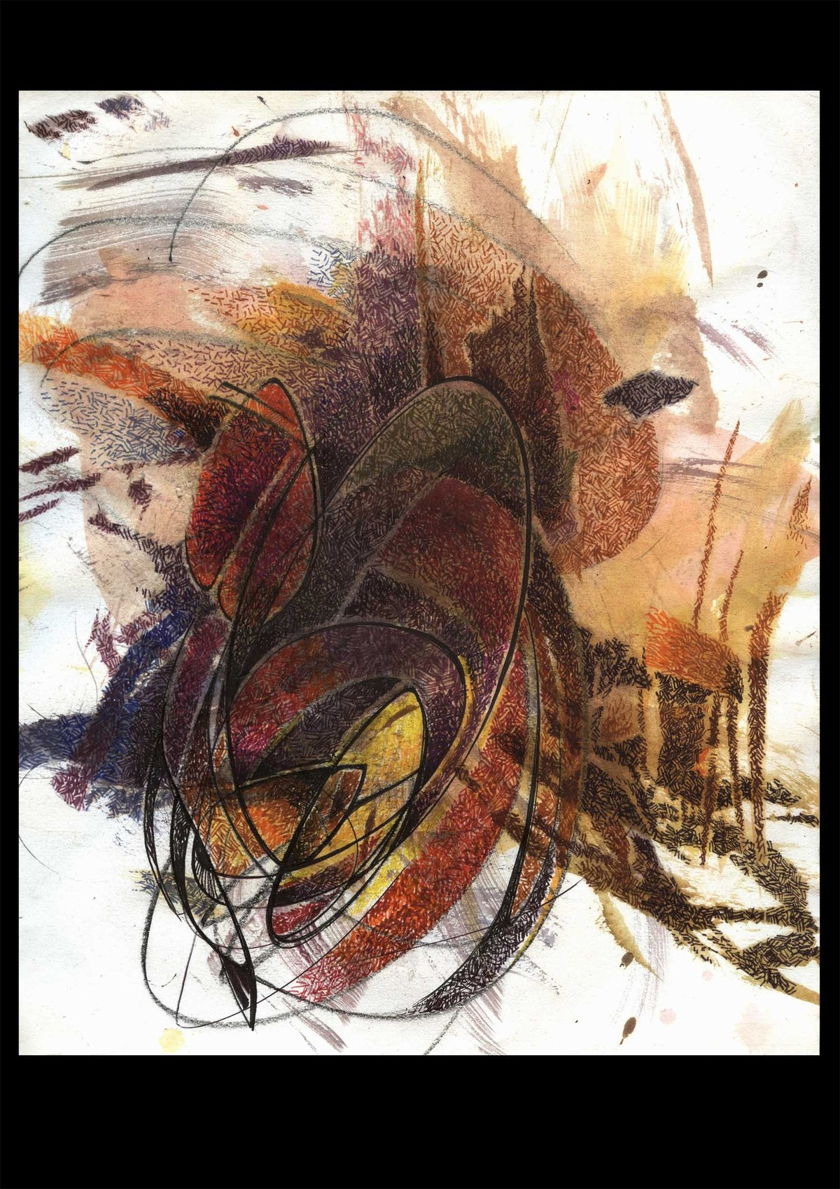GANESH by SATHIYASEELAN GANGASALAM, Abstract Painting, Mixed Media on Paper, Brown color