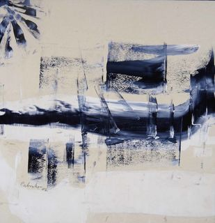 Untitled by Ravindra Pabrekar, Abstract Painting, Watercolor on Paper, Gray color