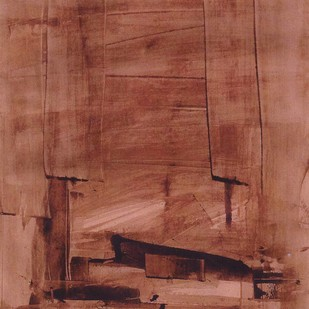 Untitled by Ravindra Pabrekar, Abstract Painting, Watercolor on Paper, Brown color