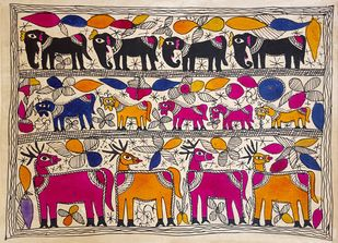 Deer Friends by Yamuna Devi, Folk Painting, Water Based Medium on Paper, Brown color