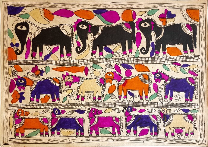 Procession Of Holy Animals by Yamuna Devi, Folk Painting, Water Based Medium on Paper, Brown color